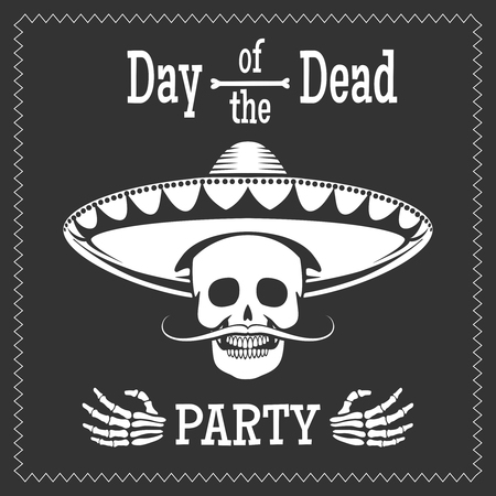 Day of the dead vector party poster with skull in mexican sombrero. Dia de los muertos illustration Illustration