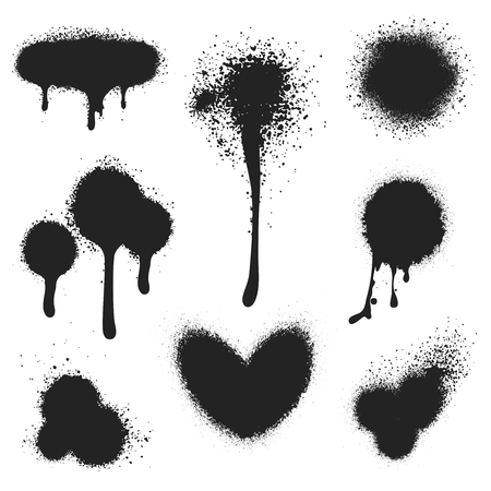 Spray paint vector set. Paint splatter texture isolated on white background 向量圖像