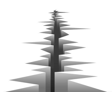 ベクトル地面の亀裂。白い背景の上の断層線
