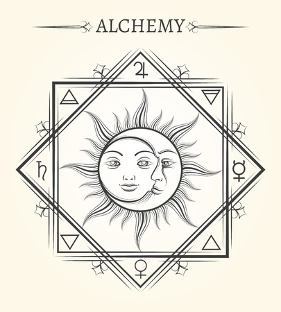Sole e luna astrologia mistica corpi celesti simbolo Archivio Fotografico - 60858223
