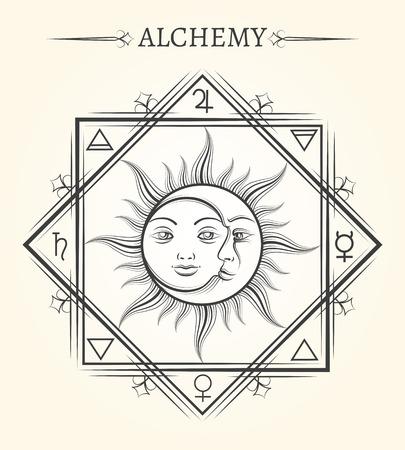 Zon en de maan astrologie mystieke hemellichamen vectorsymbool Stock Illustratie