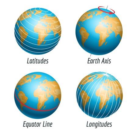 Lengte- en breedtegraad van de aarde wereld vector illustratie