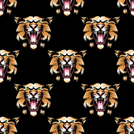undomesticated: Seamless pattern with hand drawn tiger head on black background. Vector illustration
