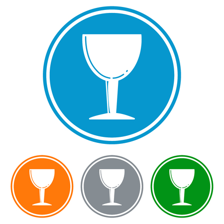 chalice: Flat chalice glass for beer icons set vector