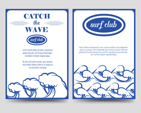 a5: Surf brochure flyer template with waves vector A5