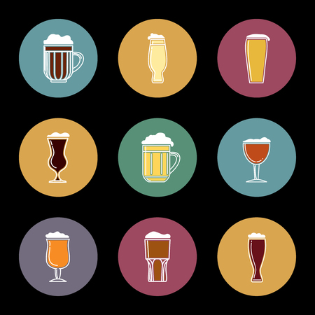 Flat beer glass icons set vector illustration