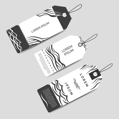 monochromic: Monochromic label tags template set vector with waves