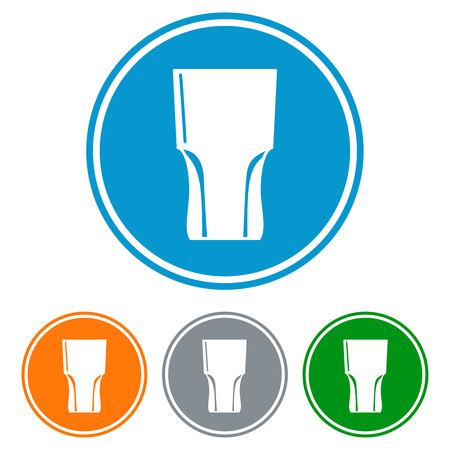 intoxicant: Flat tumbler glass for beer icons set vector Illustration