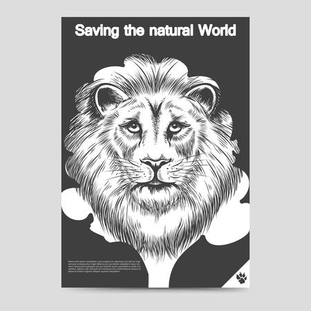 royal safari: Saving nature brochure flyer template with lion head tree and lion fooprint A6format. Vector illustration Illustration