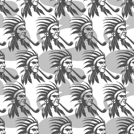 Monochromic seamless pattern with native american indian and pipe vector