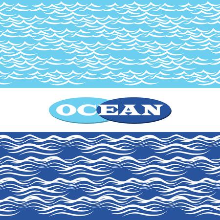 river water: Hand drawn blue ocean waves seamless borders vector illustration Illustration