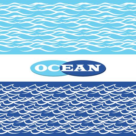 Ocean waves blue seamless borders vector illustration