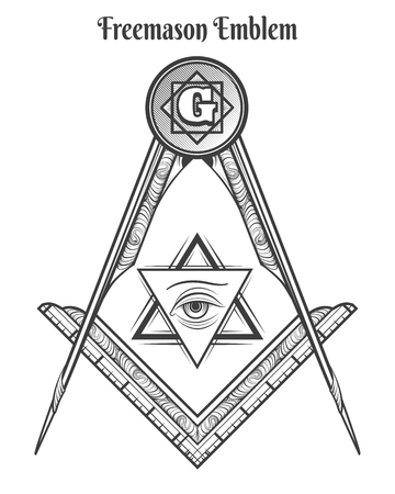 フリーメーソン広場やコンパス、フリーメーソンの兆候をベクトルし、メイソンのシンボル ベクトル タトゥー