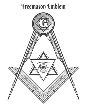 Freemason square and compass, vector freemasonry signs and mason symbols vector tattoo