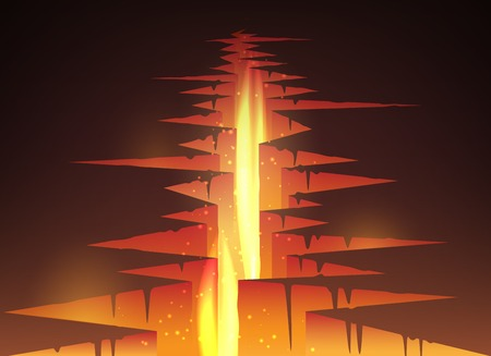 magma: Cracked hole in ground with lava or magma and fire vector illustration Illustration