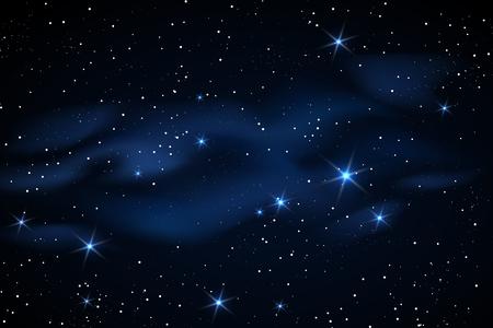 Milky way galaxy black vector background with blue stars nebula
