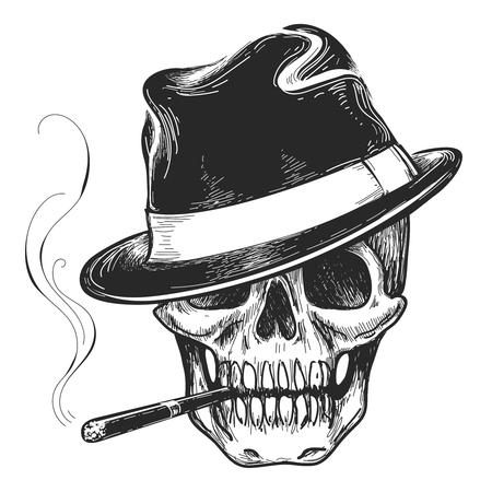 calavera: tatuaje del cráneo del gángster. la cabeza de muerte con el cigarro y el sombrero de la ilustración del vector
