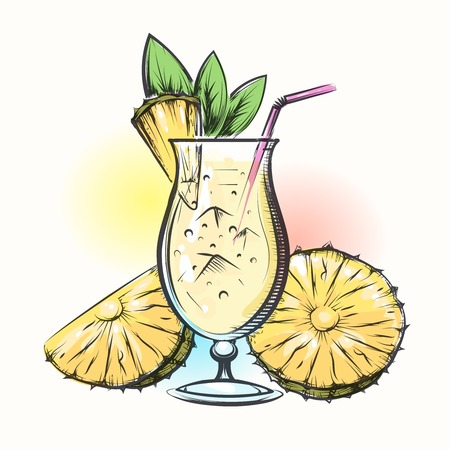Pina colada tropical pineapple and coconut cocktail. Vector illustration in watercolor style