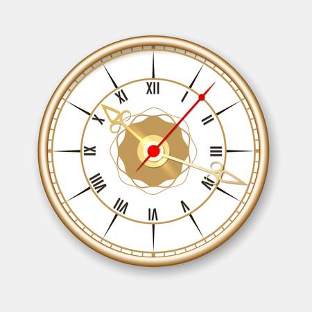 numeros romanos: reloj de pared retro. reloj de pared redondo del vector en estilo de la vendimia