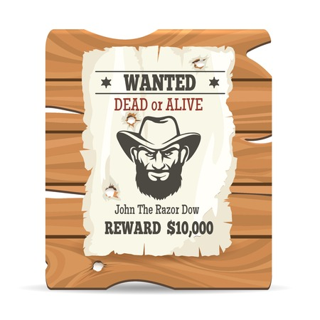 wanted poster: Cartoon wood sign board with paper wanted poster vector illustration