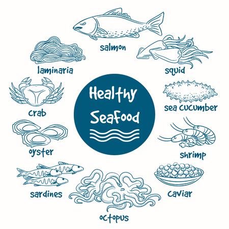 shellfish: Healthy line doodle seafood. Vector hand drawn food of sea. Fish and seaweed, shrimp and shellfish