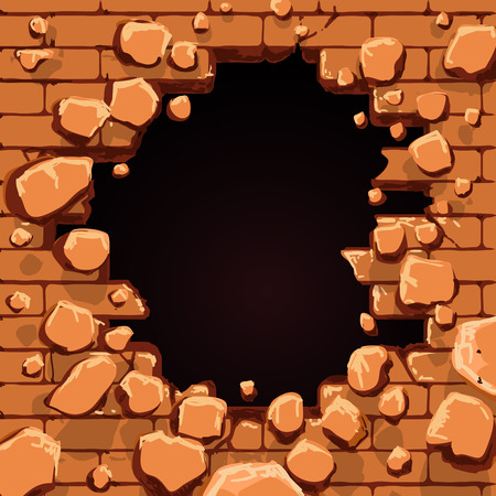 hole in wall: Red brick wall with hole vector illustration