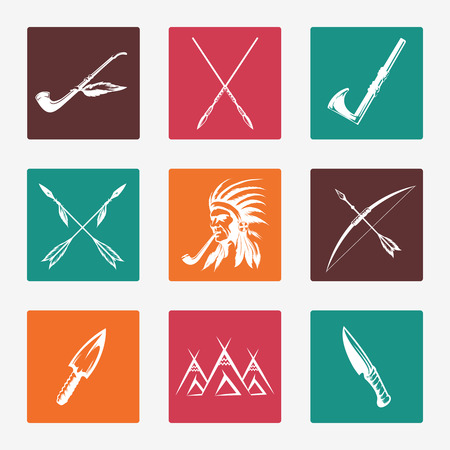 wigwam: Ethnic icons with hand drawn arrows knife bow pike and native american indian. Vector illustration