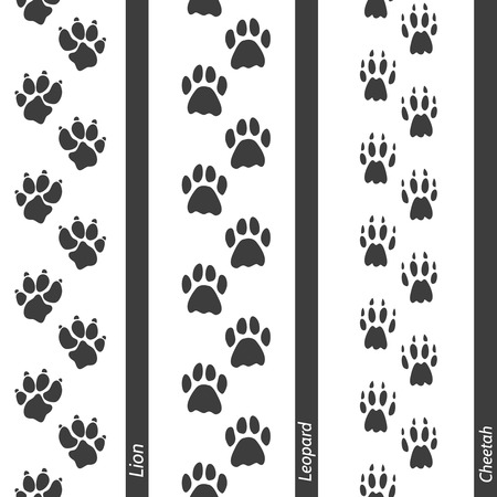 clutches: Animal footprints seamless border set. Vector footprint lion leopard and cheetah