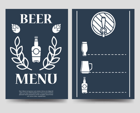 a5: Beer brochure flyer template. Beer menu vector design A5 Illustration