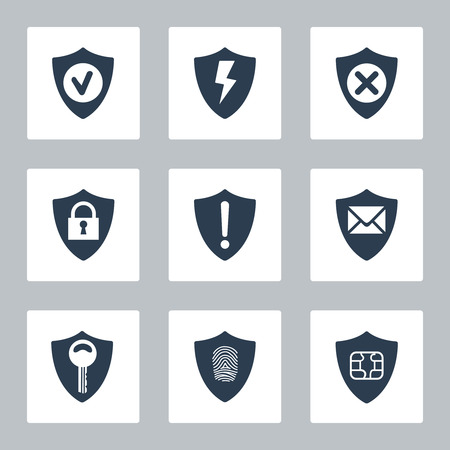 obscure: Flat security icons set on white background. Vector illustration