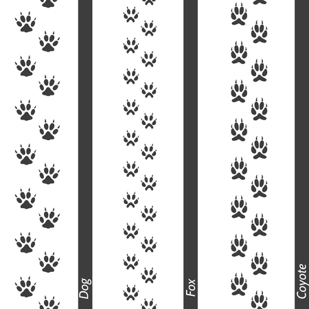 coyote: Animal footprints seamless border set. Vector footprint dog fox and coyote