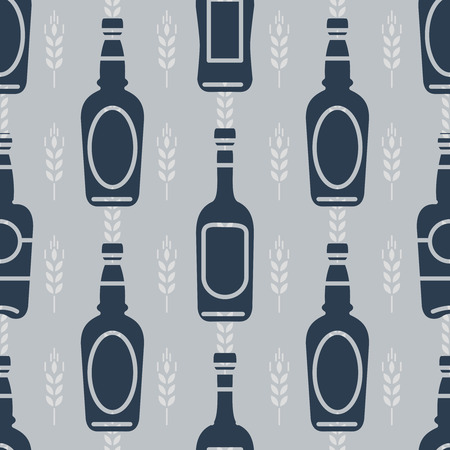 tipple: Seamless pattern with bottles of beer and wheats. Vector illustration