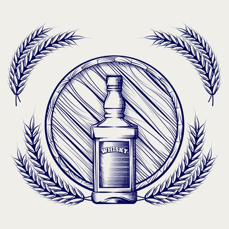 whisky bottle: Hand drawn sketch of whisky bottle barrel and wheat ball pen Illustration
