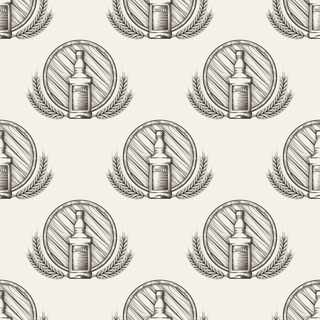 whisky bottle: Whisky seamless pattern with barrel bottle and wheat. Vector illustration