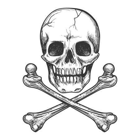 Skull and crossbones for tattoo or biker jacket vector illustration Illustration