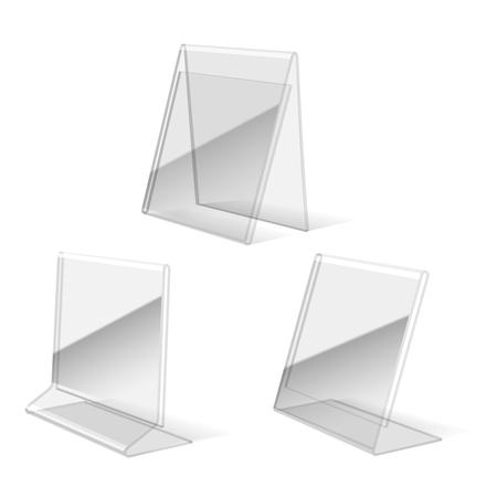 Clear plastic holder, paper business card stand vector illustration Ilustração