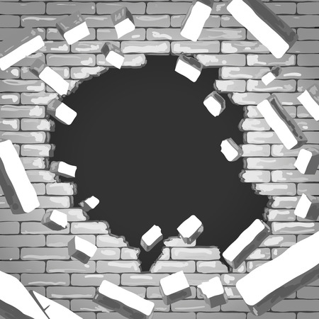 hole in wall: Destroyed brick wall background. Hole in grey brick wall illustration