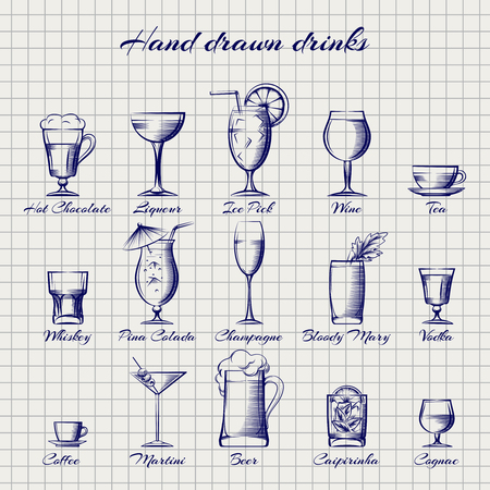 Set of popular drinks vector. Hand drawn alcoholic and non-alcoholic drinks on notebook page Illustration