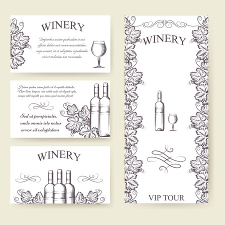 winery: Winery bouqlet and cards templates set. Vector illustration