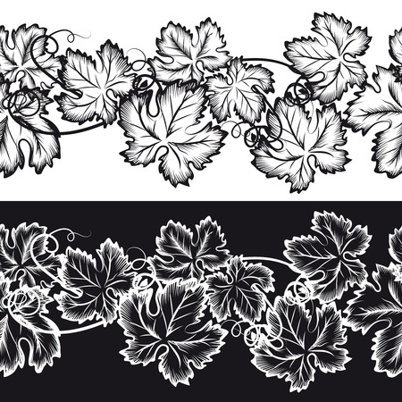 grape leaves: Ornamental seamless borders with grape leaves. Natural ornament set vector