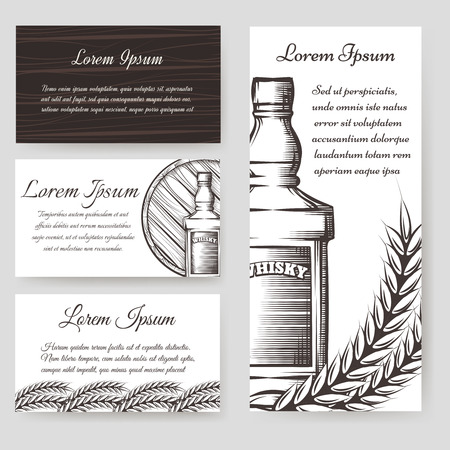 Whisky and cards templates set. Vector illustration