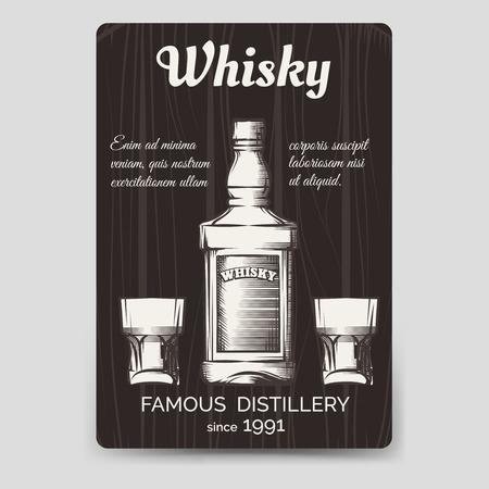 restaurant rating: Whisky brochure flyer template vector A6 format Illustration