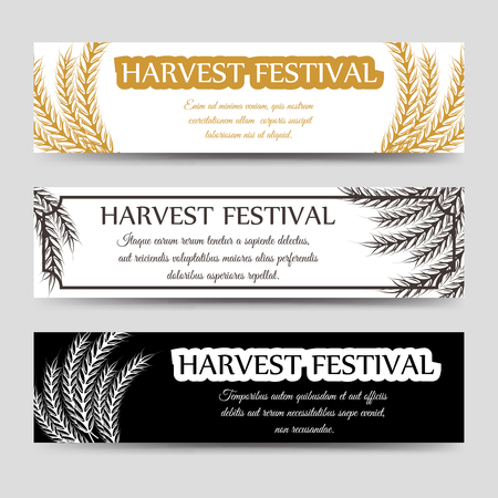 harvest festival: Agriculture horizontal banner set with wheat. Vector harvest festival banners