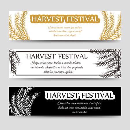 Landbouw horizontale banner die met tarwe. Vector oogstfeest banners
