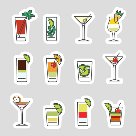 spirituous beverages: Drinks stickers set isolated on grey background. Vector illustration Illustration