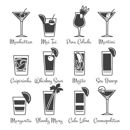 monochromic: Monochromic drinks icons set vector. Alcoholic cocktails icons set
