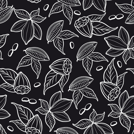 Modelo inconsútil blanco y negro con los granos de cacao. ilustración vectorial