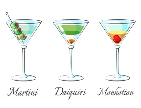 mixed drink: Popular alcoholic cocktails icons on white background with signs vector illustration