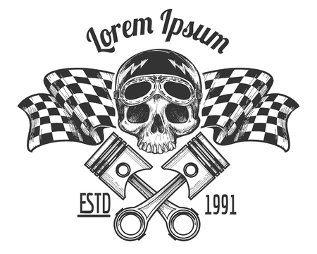 Vintage biker rider skull tattoo banner with racing checkered flags vector illustration