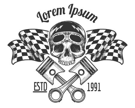 Vintage biker rijder schedel tattoo banner met het rennen van geruite vlaggen vector illustratie Stock Illustratie